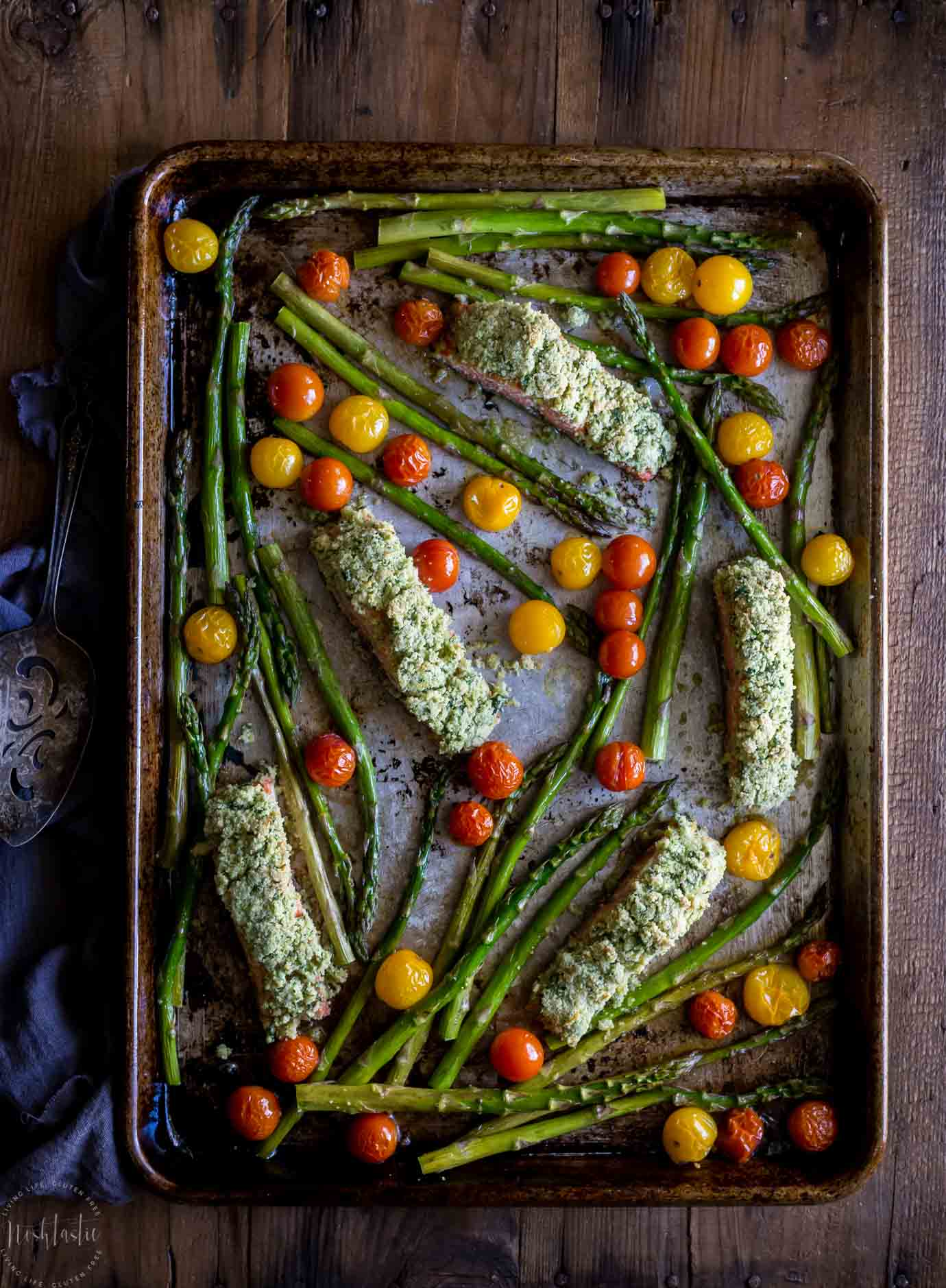 Easy Baked Salmon Gremolata recipe with Roasted Vegetables! This recipe is Paleo, Whole30, low carb, low calorie and very healthy!