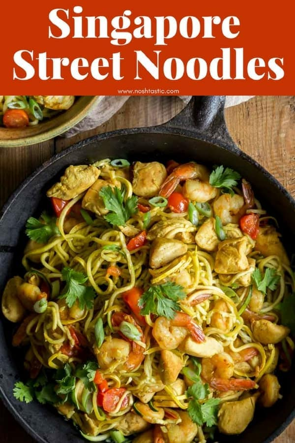 Singapore Street Noodles made with Zoodles! Paleo, Whole30, low carb, Keto, easy delicious recipe made with zucchini, shrimp, tomato, cilantro and a lovely sauce. #paleo #whole30 #w30 #keto #lowcarb #glutenfree #zoodles #noshtastic