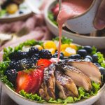 Paleo Balsamic Chicken Salad with Creamy Dairy Free Strawberry Vinaigrette