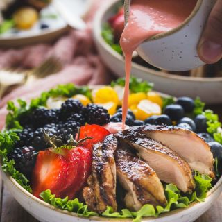 Grilled Paleo Balsamic Chicken with fruity salad and creamy dairy free strawberry vinaigrette