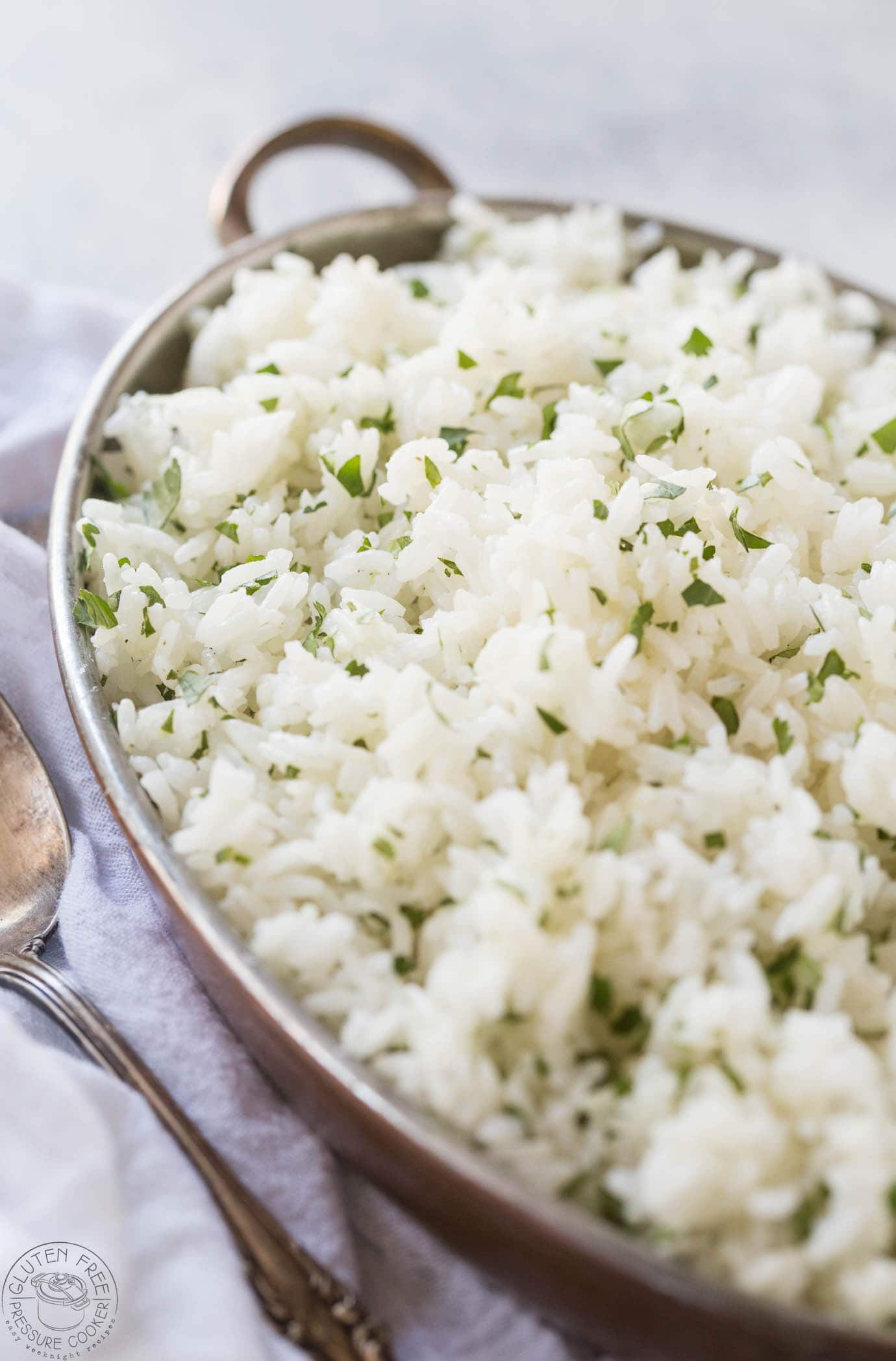 Cilantro lime rice in an oval dish
