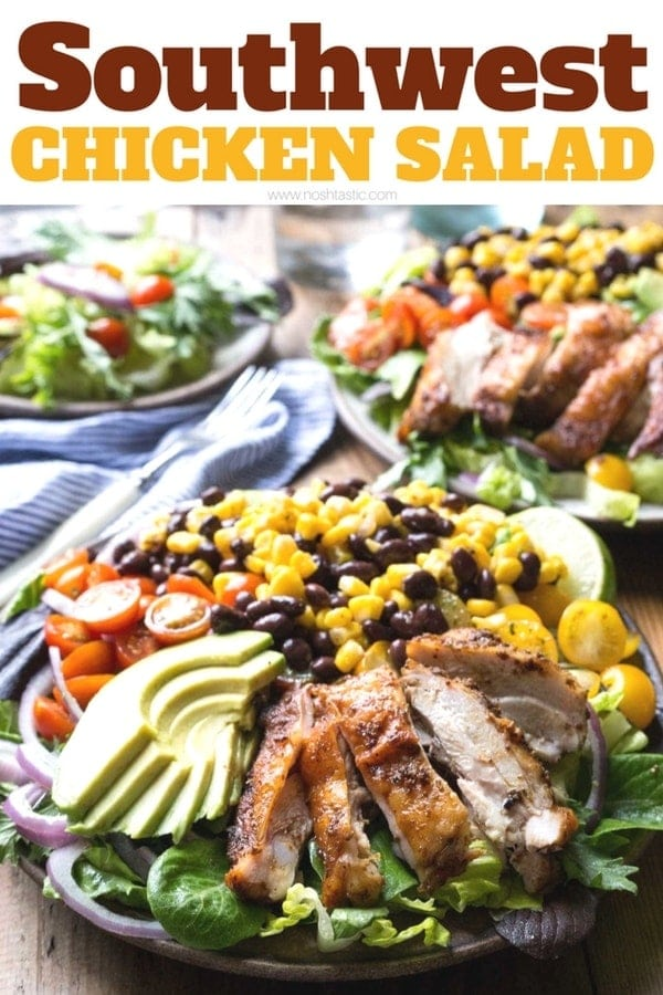 Southwest Chicken Salad! chicken marinated in garlic, onion, cumin and oregano and served over a bed of Romaine and salad leaves with sweetcorn, black beans, red onion and avocado, and topped with a homemade Cilantro Lime Dressing. This recipe is gluten free, healthy and delicious, you can grill the chicken too! www.noshtastic.com #glutenfree #glutenfreesalad #southwestchickensalad #glutenfreechickensalad #southwesternsalad #noshtastic