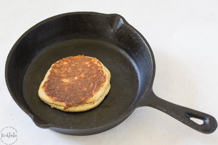 fully cooked paleo pancake still in skillet