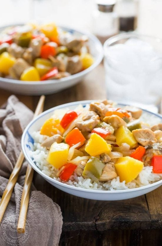Pressure Cooker Sweet and Sour Pork recipe that is cooked in LESS than 15 Minutes, perfect for a weeknight family meal and so much better than takeout! This recipe is Paleo and healthy, If you are not Paleo you can simply swap out the arrowroot for cornstarch, and coconut sugar for brown sugar instead.