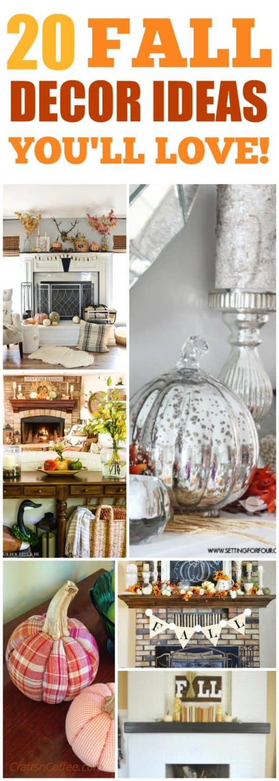 Easy Fall Decorating ideas for your home, mantle and more ideas for Fall Porch decor too! We have Inexpensive Fall Decor ideas that will work for any budget as well as some really crafty home made fall decor ideas too! #falldecor #dollarstore #Pumpkins #fallmantel #Thanksgivingtable #fallwreath
