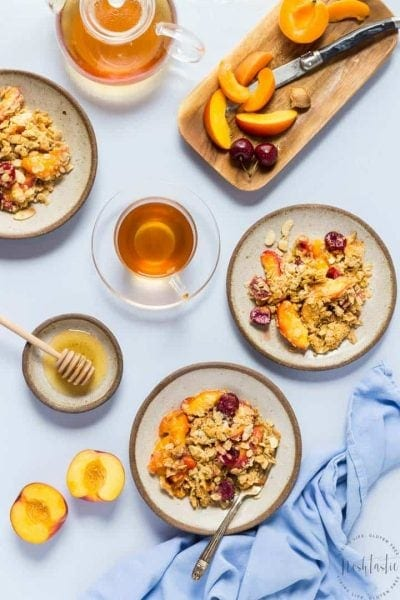 Gluten Free Peach Crisp with Cherries and Apricots