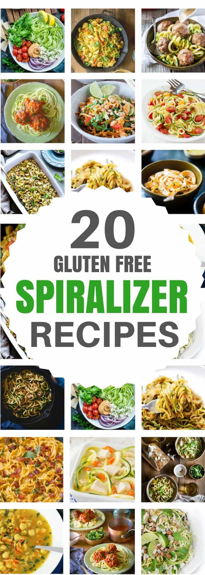A great collection of healthy gluten free spiralizer dinner recipes you MUST TRY! I have spiralizer sweet potato recipes, spiralizer zucchini noodle recipes - also known as zoodles - and more recipes including many paleo, low carb, and whole30 compliant options.