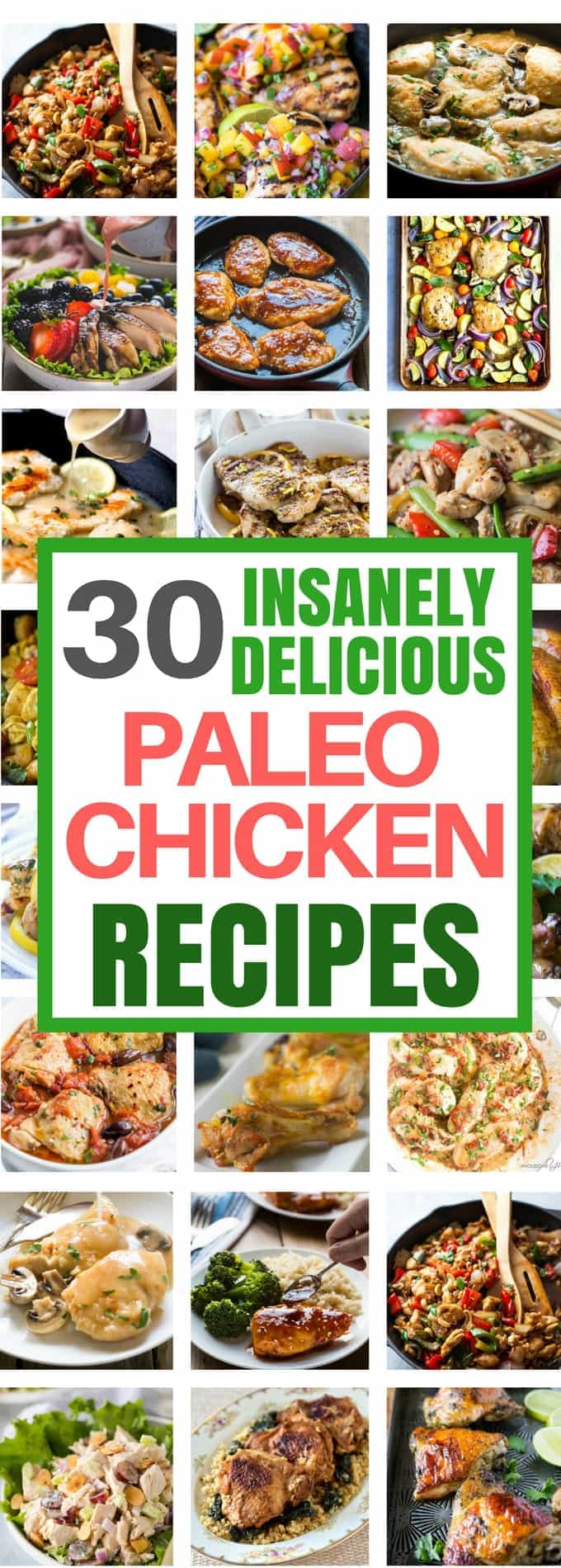 A great collection of some of my most popular Paleo Chicken Recipes that are perfect for lunch or dinner! Paleo Chicken Recipes, Paleo Chicken Salad, Paleo Chicken Tenders, paleo chicken thigh recipes, paleo chicken breast recipes, Paleo Main Course, Paleo dinners