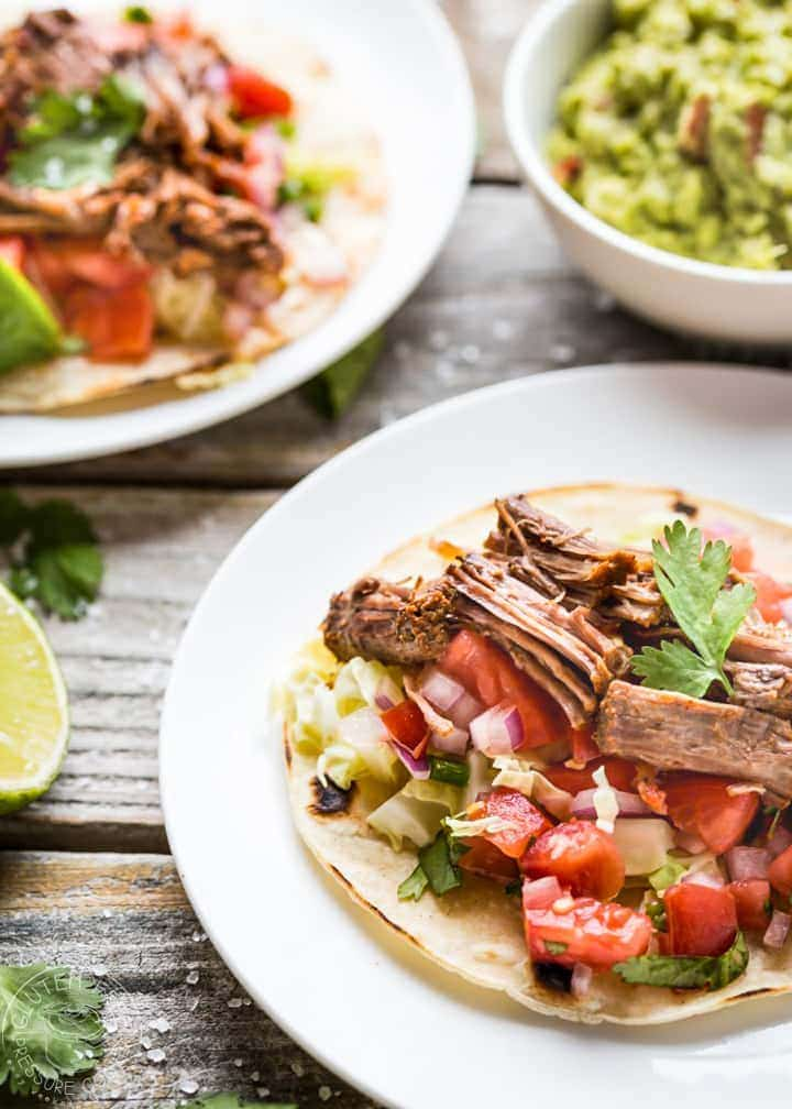 Pressure Cooker Pot Roast Tacos! Easy gluten free recipe, perfect for your electric pressure cooker or Instant Pot. The pot roast is Paleo, Whole30 and Low Carb, just use a lettuce wrap instead of corn tortillas for Paleo/W30. #paleo #w30 #whole30 #lowcarb #keto #instantpot #instapot #electricpressurecooker #pressurecooking #potroast #glutenfree