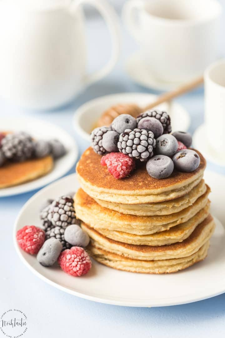 These are quite simply the best, fluffiest, lightest Paleo Pancakes you'll try! Made with Almond flour and tapioca starch they are a great breakfast recipe! | gluten free pancakes