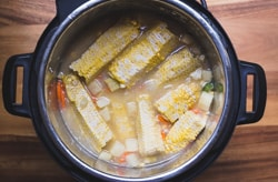 corn on the cob in a pressure cooker