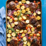 You need to try my delicious, easy, sheet pan Paleo Balsamic Chicken recipe with Roasted Potatoes, Red Onion, Tomatoes & fresh herbs! You can cook it on one pan in the oven in an hour or less.