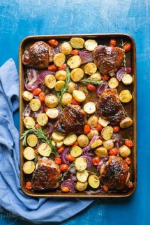 You need to try my delicious, easy, sheet panPaleo Balsamic Chicken recipe with Roasted Potatoes, Red Onion, Tomatoes & fresh herbs! You can cook it on one pan in the oven in an hour or less.