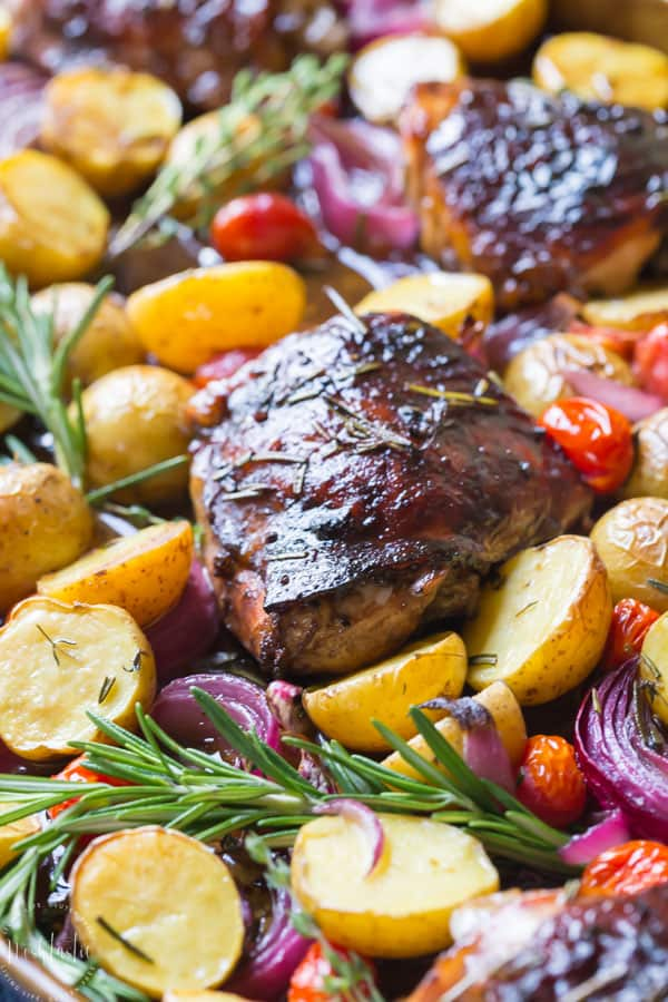 You need to try my delicious, easy, sheet panPaleo Balsamic Chicken recipe with Roasted Potatoes, Red Onion, Tomatoes & fresh herbs! You can cook it on one pan in the oven in an hour or less!