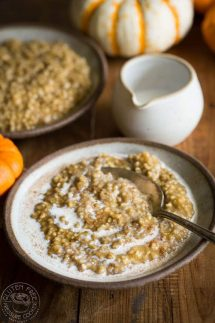 Pressure Cooker Pumpkin Pie Steel Cut Oats recipe for your Instant Pot or Electric Pressure Cooker, it's perfect Fall food and an easy healthy gluten free oatmeal breakfast recipe cooked with brown sugar and pumpkin pie spice!