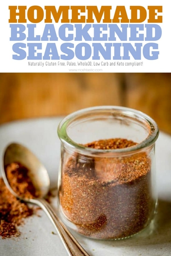 Homemade Blackened Seasoning recipe with easy tips for cooking with it! It's naturally gluten free, paleo, Whole30, Low Carb and Keto compliant, there is no sugar added. This is a variation of Paul Prudhomme's Blackened Seasoning Blend, a really easy blackening spice recipe to make at home #blackeningspice #paleo #lowcarb #keto #ketodiet #ketogenic #whole30 #w30 #glutenfree #spicerub #spices