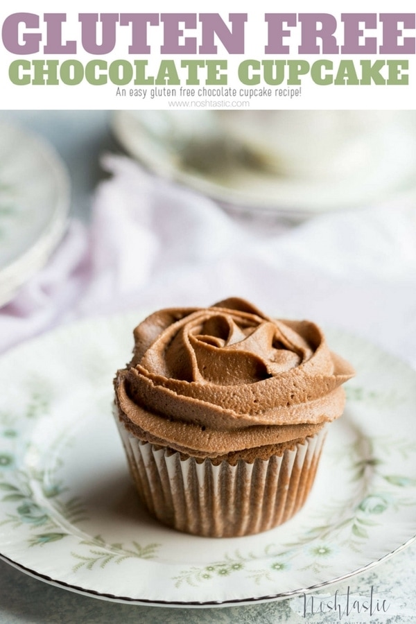 gluten free chocolate cupcake recipe that even a beginner can make, throw it all in one bowl, mix and bake! it's also dairy free. www.noshtastic.com #glutenfreecupcakes #glutenfreechocolatecupcakes #glutenfreebaking #glutenfree #chocolate #noshtastic