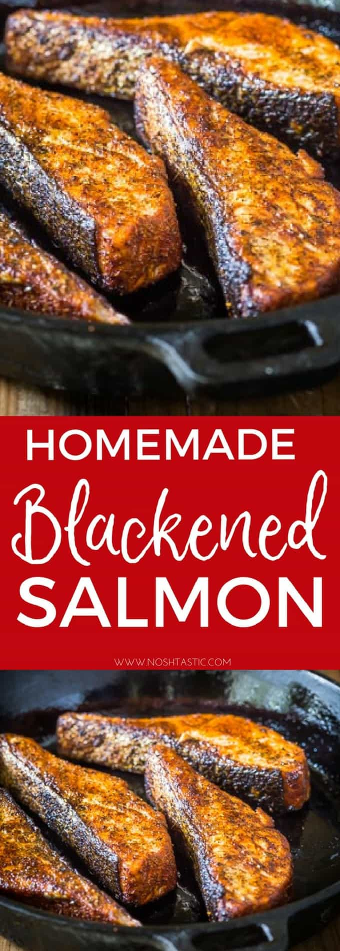 Blackened Salmon with Homemade Blackened Seasoning, an easy low carb, Paleo & Whole30 salmon recipe that you'll love! #paleo #whole30 #glutenfree #lowcarb #keto #ketogenicdiet #Paleosalmon #whole30salmon #salmon #fish #castironskillet