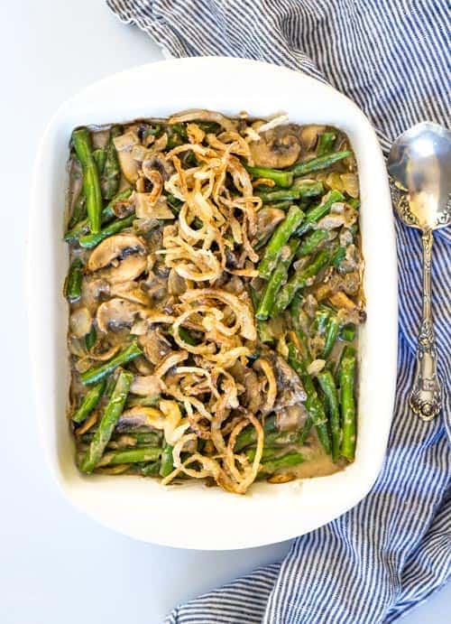 Easy Paleo Green Bean Casserole is a perfect gluten free and healthy alternative to grace your Thanksgiving Table! #paleothanksgiving #paleocasserole #paleo #whole30 #paleogreenbeancasserole #paleosides #glutenfreethanksgiving