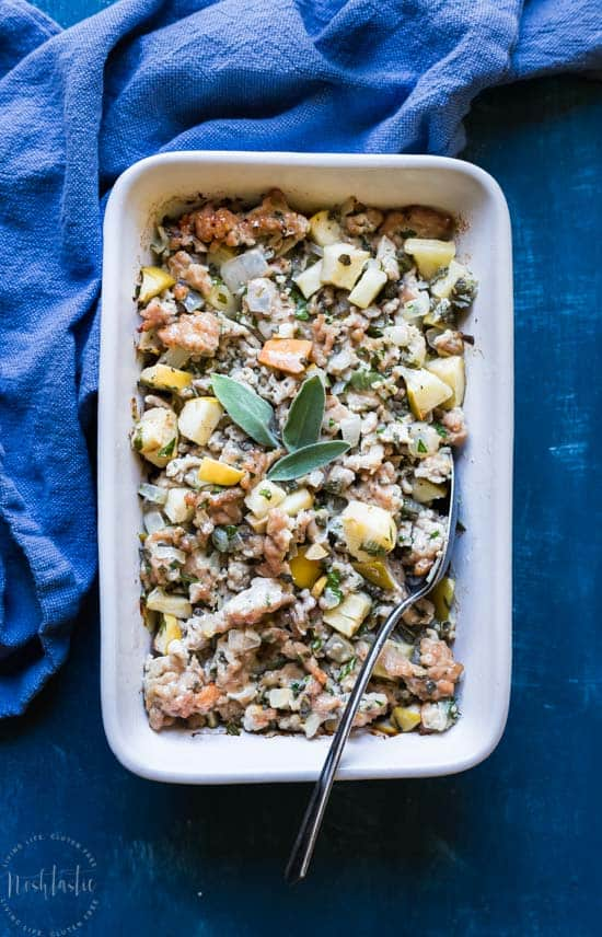 You'll love my easy Paleo Thanksgiving Stuffing recipe, a perfect accompaniment to your Thanksgiving Turkey dinner! #paleo #paleothanksgiving #whole30