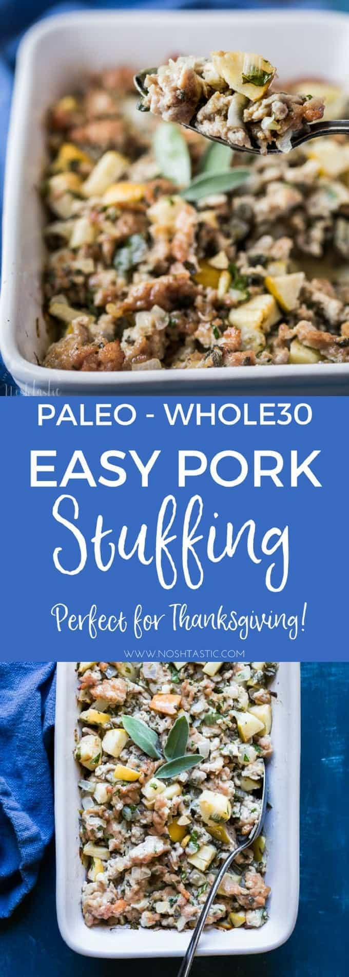 You'll love my easy Paleo Thanksgiving Stuffing recipe, a perfect accompaniment to your Thanksgiving Turkey dinner! #paleo #paleothanksgiving #whole30 #glutenfreethanksgiving #paleostuffing #paleodressing