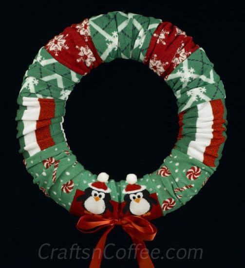 Dollar Store Christmas Decorations - sock wreath