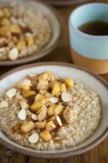 My recipe for Pressure Cooker Steel Cut Oats with Apple Pie Topping is a fun easy breakfast the whole family will love! #pressurecooker #instantpot #instapot #oatmeal #glutenfreepressurecooker