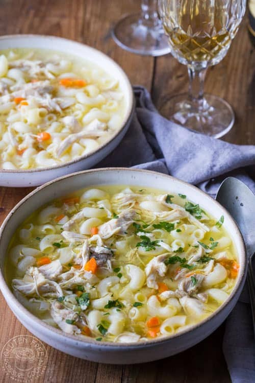 This is a really easy, from scratch, Pressure Cooker Chicken Noodle soup recipe, I promise! The beauty of making this in your pressure cooker is that you can create a really lovely, flavorful, broth for the soup in about 20 minutes. #instantpot #instapot #electricpressurecooker #glutenfreepressurecooker #glutenfreeinstantpot #glutenfree #soup