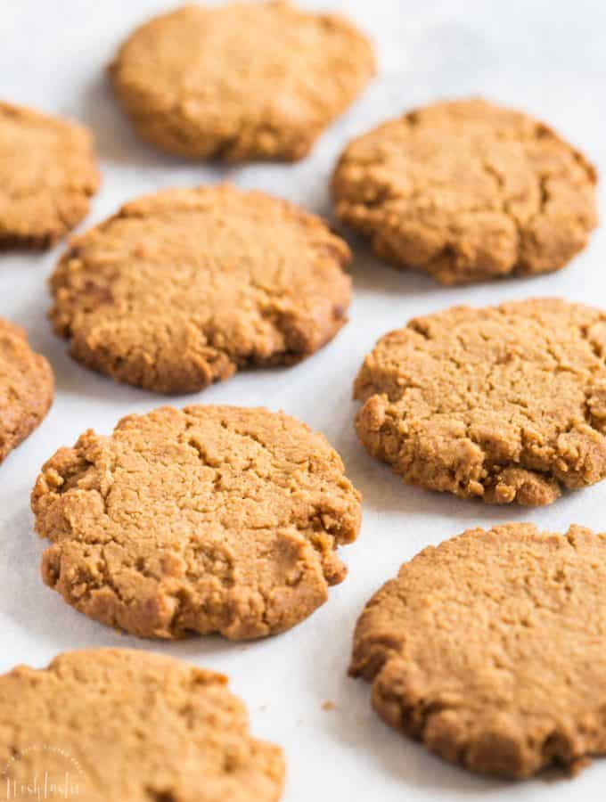 gluten free peanut butter cookies made from scratch! Crunchy, easy, delicious! from noshtastic.com #glutenfreecookies #peanutbutter #peanutbuttercookies #glutenfreebaking #noshtastic