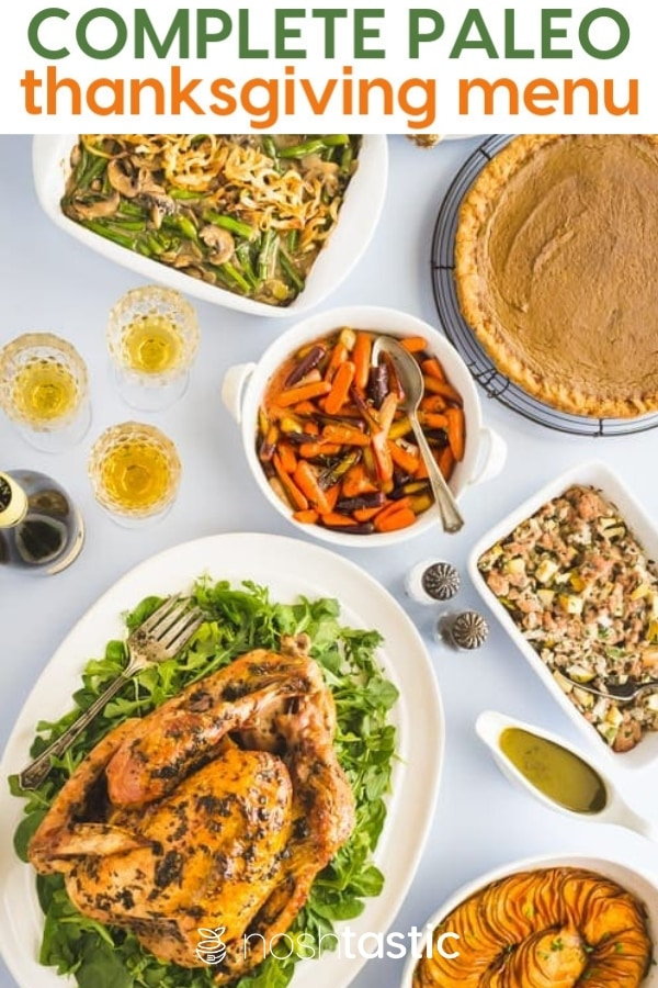 Paleo Thanksgiving recipes on a table