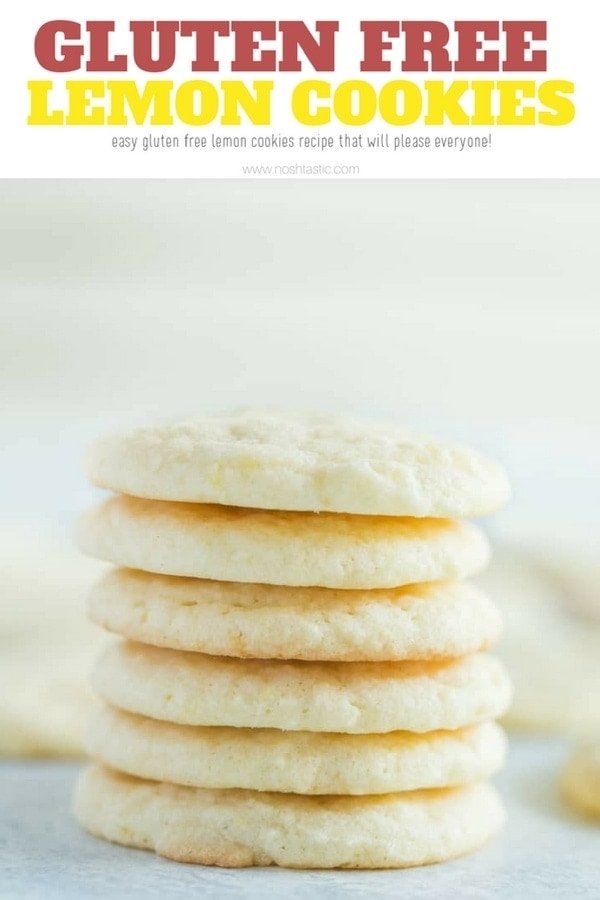gluten free lemon cookies with a very easy recipe that can be made dairy free too, a lovely gluten free sugar cookie recipe #glutenfreecookie #glutenfreelemoncookie #noshtastic #glutenfreebaking #glutenfree