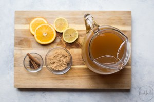 Spiced Apple Cider Recipe Ingredients on a plate