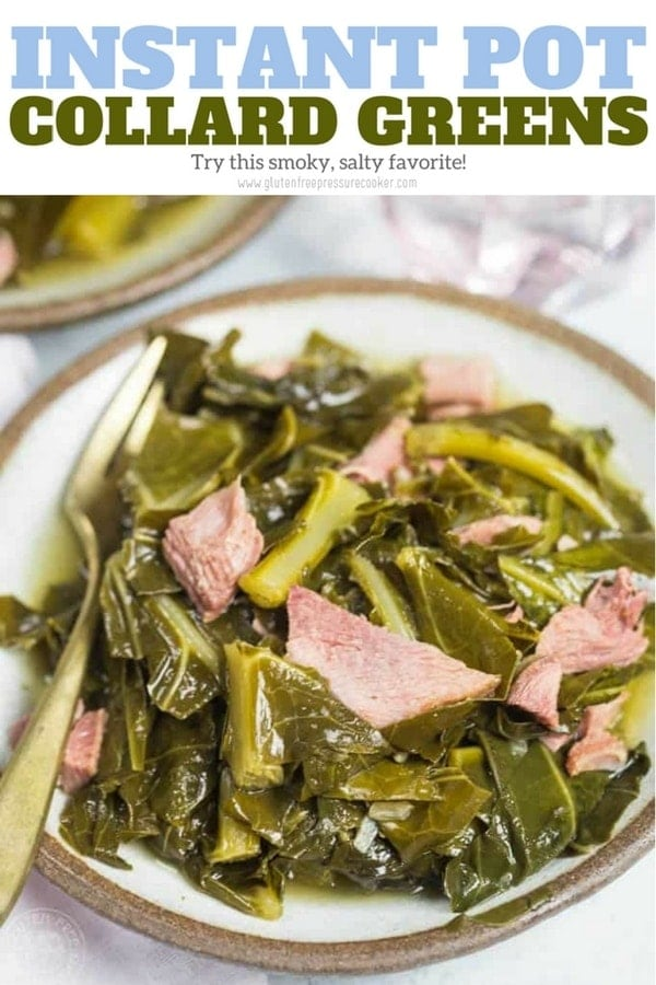 Pressure Cooker Collard Greens - a Classic Southern Recipe made in a fraction of the time in your pressure cooker! It's gluten free and come with that fabulous pot liquor, or pot likker as it's also known. #noshtastic #collardgreens #pressurecookercollardgreens #instantpotcollardgreens #instantpot #instapot #pressurecooker #glutenfreepressurecooker