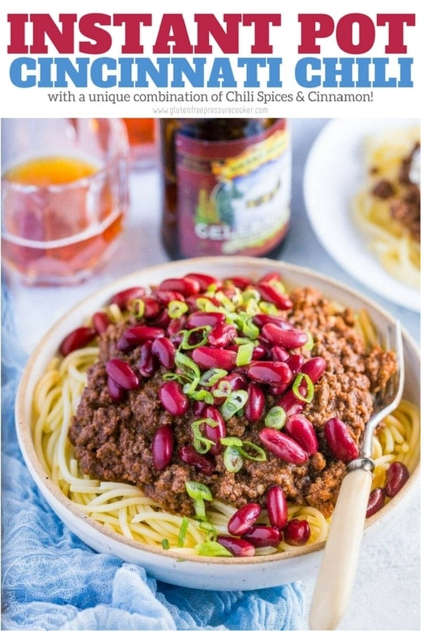 Pressure Cooker Cincinnati Chili is a chili of different kind with an usual flavor combination that really works! It's a breeze to make this in your Instant Pot or electric pressure cooker   www.noshtastic.com   #cincinattichili #instantpotchili #pressurecookerchili #instantpot #groundbeefchili #instapot #electricpressurecooker #glutenfreepressurecooker #glutenfreeinstantpot #glutenfree