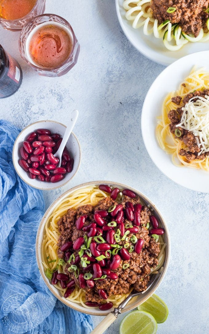 Pressure Cooker Cincinnati Chili is a chili of different kind with an usual flavor combination that really works! It's a breeze to make this in your Instant Pot or electric pressure cooker | www.noshtastic.com| #cincinattichili #instantpotchili #pressurecookerchili #instantpot #groundbeefchili #instapot #electricpressurecooker #glutenfreepressurecooker #glutenfreeinstantpot #glutenfree