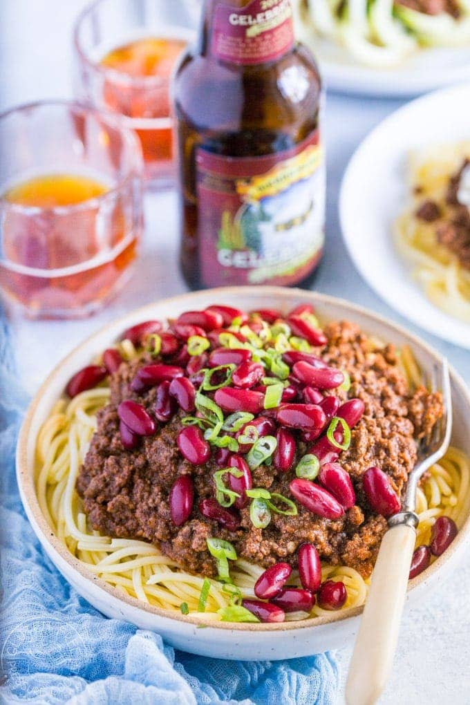 Pressure Cooker Cincinnati Chili is a chili of different kind with an unusual flavor combination that really works! It's a breeze to make this in your Instant Pot or electric pressure cooker | www.noshtastic.com | #cincinattichili #instantpotchili #pressurecookerchili #instantpot #groundbeefchili #instapot #electricpressurecooker #glutenfreepressurecooker #glutenfreeinstantpot #glutenfree