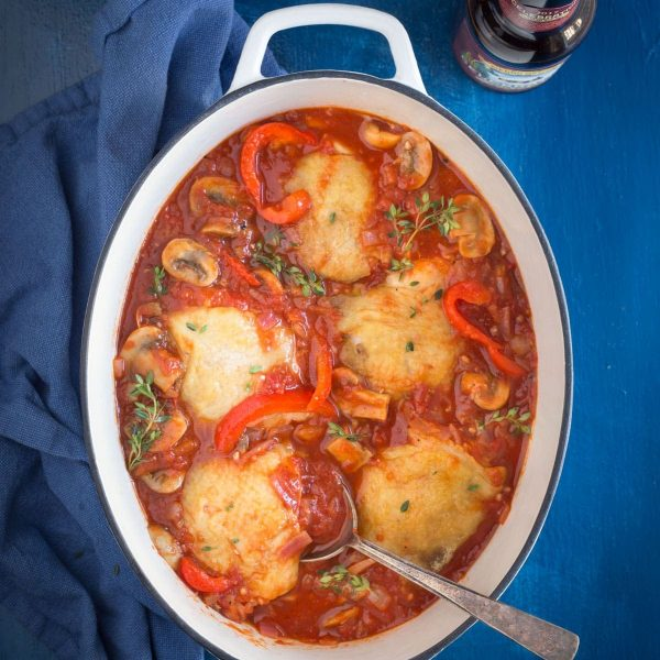 Chicken Cacciatore Recipe is an Easy Weeknight Meal that tastes like you've been cooking all day long! made with chicken, tomatoes, white wine, bell peppers, garlic, onions, mushrooms and fresh thyme | www.noshtastic.com | #chickencacciatore #glutenfree #noshtastic #glutenfreerecipe #slowcookerrecipe #crockpotrecipe #slowcookerchicken #crockpotchicken #dutchoven