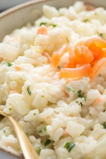 Instant Pot Risotto with Smoked Salmon and Mascarpone Cheese recipe