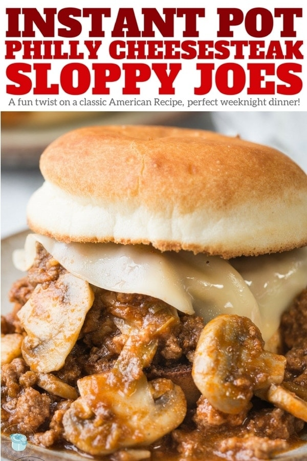 Instant Pot Philly Cheesesteak Sloppy Joes - a super fun twist on your regular sloppy Joes recipe and better than manwich! Made with ground beef, bell pepper, mushrooms, onions, provolone cheese and served on a bun. Easy pressure cooker beef recipe | www.noshtastic.com | #sloppyjoes #phillycheesesteak #instantpotsloppyjoes #instantpot #instapot #electricpressurecooker #glutenfreepressurecooker #glutenfreeinstantpot #glutenfree #groundbeef