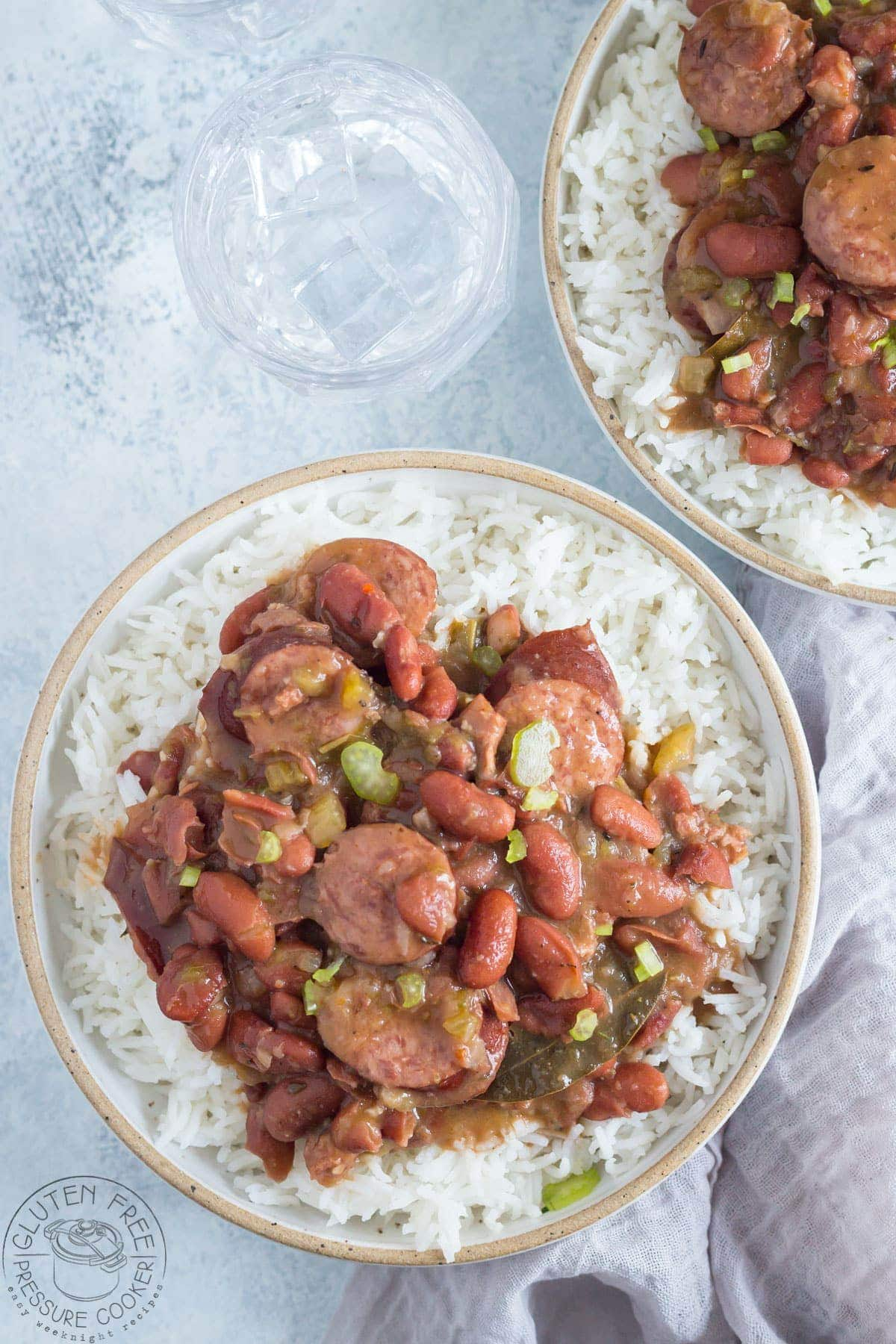 overhead photo of red beans and rice with andouille sausage