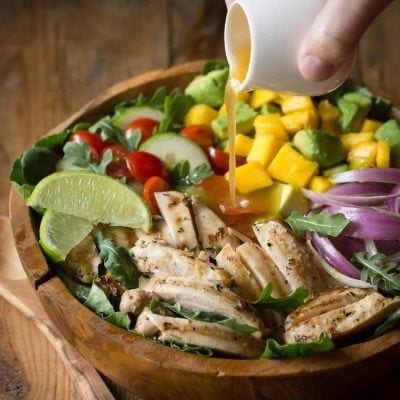Chicken Avocado Salad with Honey Lime Dressing