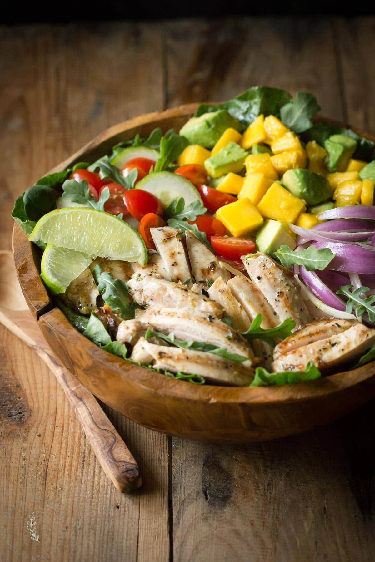 Chicken Avocado Salad with Honey Lime Dressing is such a fun summer salad! It's jam packed with healthy ingredients including arugula, spinach, and mango.| www.noshtastic.com | #chickensalad #chickenavocadosalad #glutenfreesalad #paleo #paleosalad #paleochicken #healthysalad #glutenfree #noshtastic #glutenfreerecipe