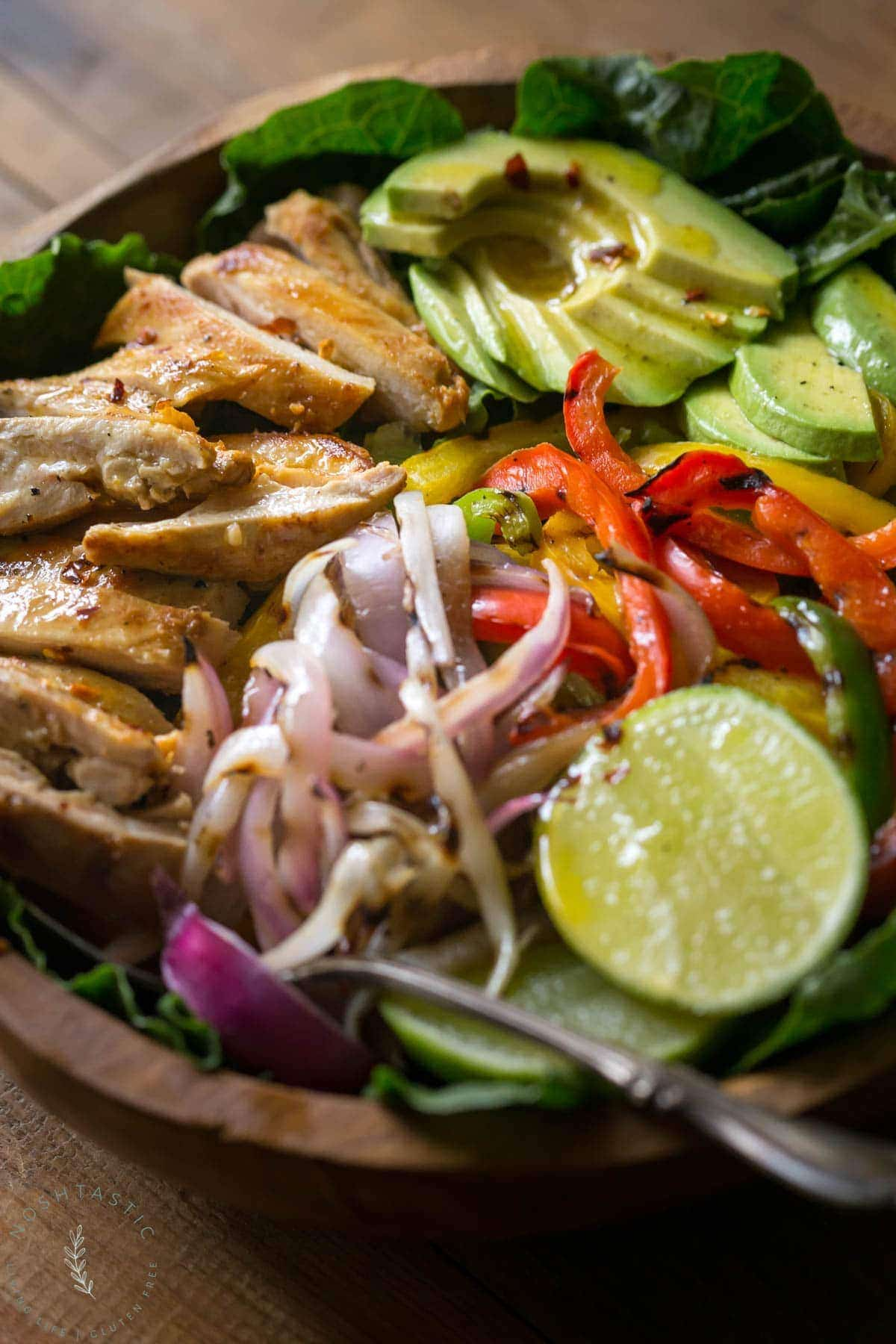 My Chicken Fajita Salad has all kinds of tasty ingredients including, grilled marinated fajita chicken, red onions, bell pepper, avocados and is topped with a fabulous honey lime salad dressing.| www.noshtastic.com | #chickenfajitas #chickenfajitasalad #fajitasalad #chickensalad #paleo #paleosalad #paleochicken #healthysalad #glutenfree #noshtastic #glutenfreerecipe