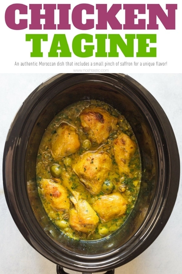 Chicken Tagine Recipe, an authentic Moroccan recipe that you can make at home in your slow cooker, crockpot, or oven bake! www.noshtastic.com | #chickentagine #tagine #slowcookerchicken#glutenfree #noshtastic #glutenfreerecipe #moroccanfood #africanfood #slowcooker #crockpot