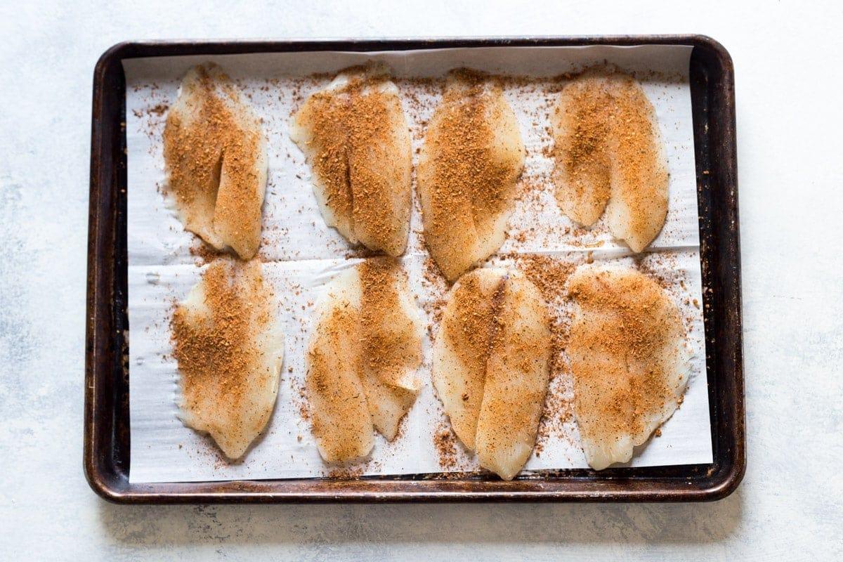tilapia on a sheet pan
