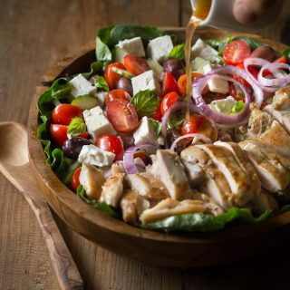 Grilled Greek Chicken Salad with delicious homemade Red wine Vinaigrette and Feta Cheese | www.noshtastic.com | #greekchickensalad #greeksalad #grilledchicken #glutenfreechicken #glutenfreesalad #glutenfree #noshtastic #glutenfreerecipe