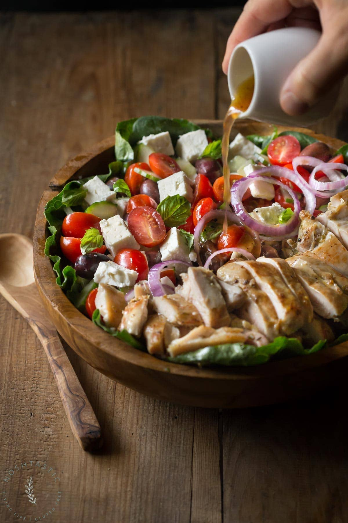 Greek Chicken Salad Recipe with a poured over vinaigrette