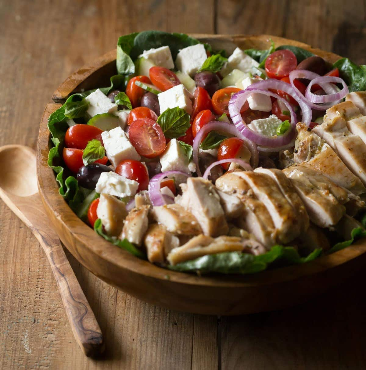 greek chicken salad in a bowl