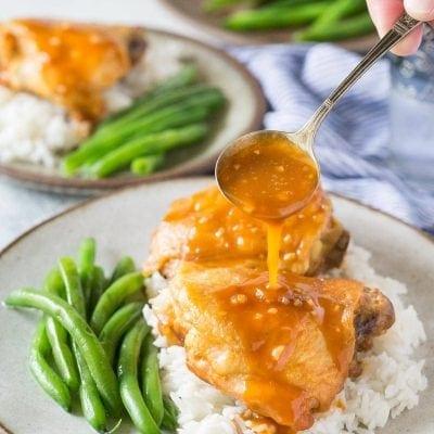 Instant Pot Honey Garlic Chicken. Tender delicious chicken thighs with a rich tasty honey garlic sauce you'll love! Easy Pressure Cooker Chicken Recipe. | www.glutenfreepressurecooker.com | #honeygarlicchicken #instantpothoneygarlicchicken #instantpotchicken #pressurecookerchicken #instantpot #instapot #electricpressurecooker #glutenfreepressurecooker #glutenfreeinstantpot #glutenfree