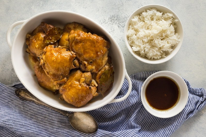 Easy recipe for Filipino Chicken Adobo that you can make in your pressure cooker! | www.glutenfreepressurecooker.com | #adobochicken #instantpotadobochicken #filipinoadobochicken #pressurecookerchicken #instantpot #instapot #electricpressurecooker #glutenfreepressurecooker #glutenfreeinstantpot #glutenfree #paleo #whole30